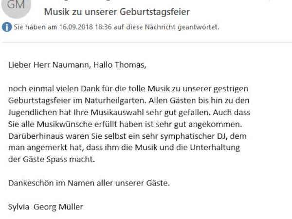 Geburtstags-DJ für Thüringen Suhl und Umgebung
